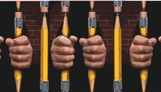 pencils as prison bars
